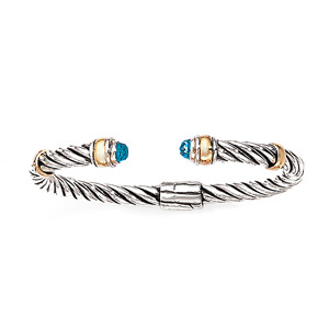 14K Gold and Silver Bracelet with Blue Topaz