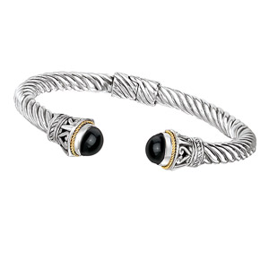 18K Gold and Silver Bracelet With Cabochon 8.5mm Black Onyx Cuff