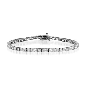 3.15 Ct Diamond Tennis Bracelet in 14K White Gold