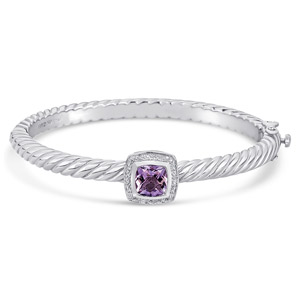 Sterling Silver/Steel Bracelet with 2 carat Amethyst and Diamonds