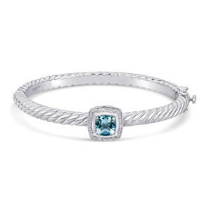 Blue Topaz and Diamond Bracelet Sterling Silver/Steel