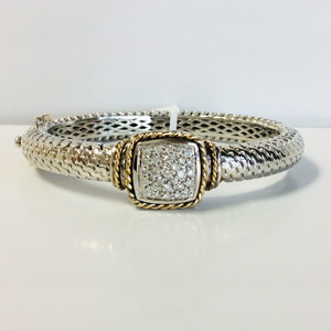 14K Yellow Gold Sterling Silver Bracelet with .53 Carat Diamonds