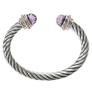 Sterling and 14 K Yellow Gold Bracelet with Amethyst Caps