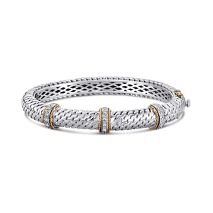 Bracelet/Bangle with 0.26ct Diamonds 14K And 925 Sterling Silver