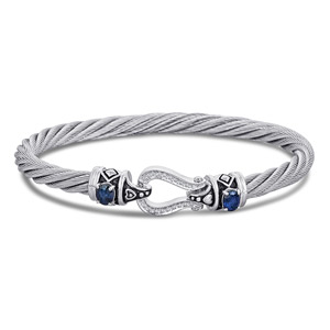 Silver & Steel Bracelet with Sapphire and Diamonds