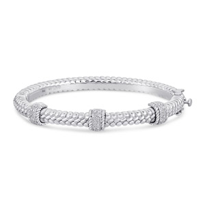 Steel and 925 Sterling Silver Bracelet with Diamonds