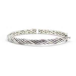 Sterling Silver Bracelet With Small Diamonds