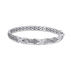 Sterling Silver & Steel Bracelet with Diamonds