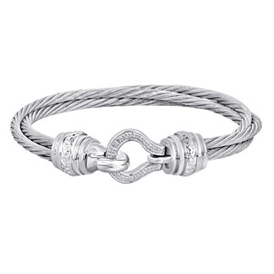 Sterling Silver And Steel Cable Bracelet Set With Diamonds