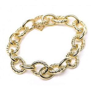 14K Yellow Gold Bracelet Interlocking Smooth and Cable Style Links