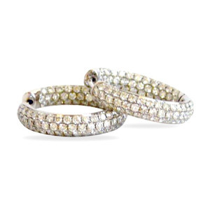 3 Carats 3 Rows Diamond Hoop Earrings in 18 K White Gold