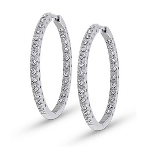 Inside Out Diamond Hoop Earrings .50 Ct.tw