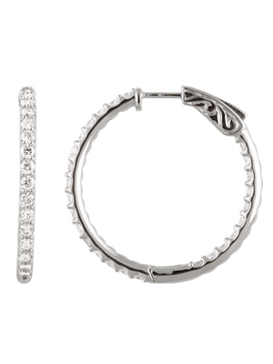 2.07 Ct. tw Diamond Hoop Earrings Inside and Out 14K White Gold