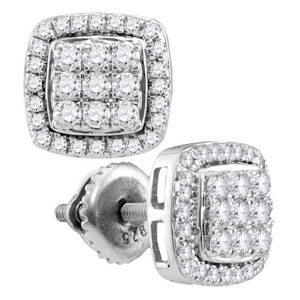 Half Carat tw. White Gold Earrings with 66 Round Diamonds