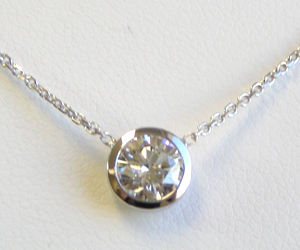Solitaire Diamond Necklace .84 Ct.tw 14K White Gold Chain