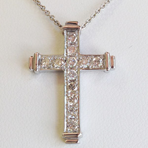 Diamond Cross with 12 Round Diamonds in White Gold