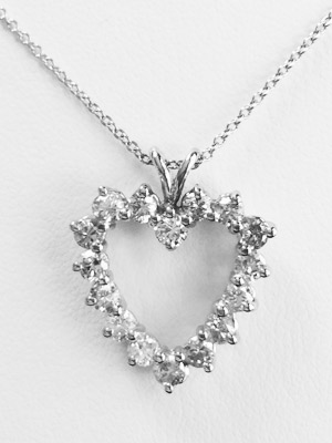 14K White Gold Diamond Heart Necklace With 16 Diamonds