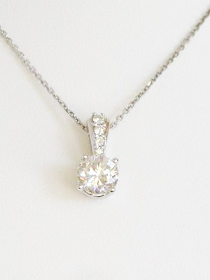 1 Carat Diamond Necklace in White Gold With Chain
