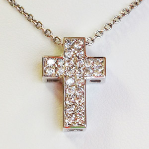 .45 Ct.tw Diamond Cross Pendant in 14 K White Gold with Rolo Chain