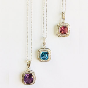 Blue Topaz Amethyst & Pink Tourmaline Necklaces with Diamonds