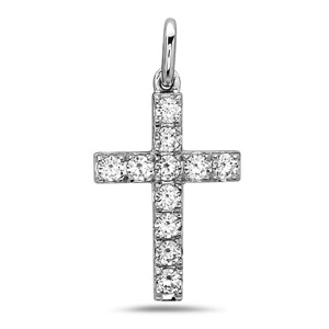 White Gold Cross Necklace with Round Diamonds