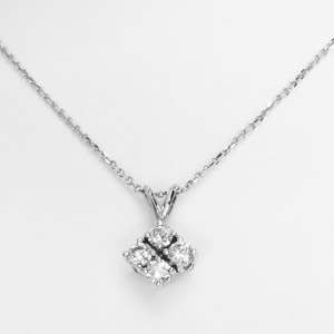 14K White Gold Necklace with 4 Round Diamonds, .55 cttw.