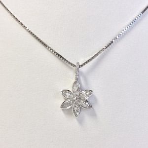 14K Diamond Marquis Necklace in 14K White Gold