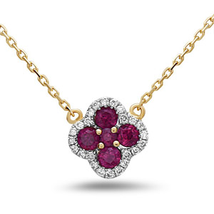 Diamond Ruby Necklace in 14K Yellow Gold