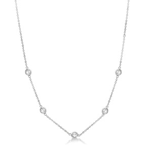 White Gold Necklace 16 inches in Length, with Five Round Diamonds