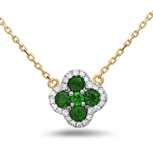 Diamond Emerald Necklace in 14K Yellow Gold