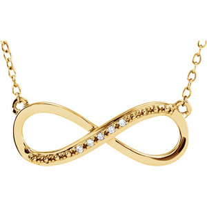 Diamond Infinity Necklace in 14K Yellow Gold