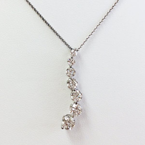 18 K White Gold Necklace with 7 Brilliant Round .73 Ct Diamonds