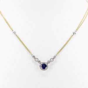 Round Sapphire and Diamond Necklace