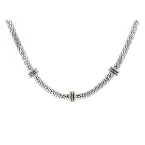Sterling Silver 18 inches Italian Necklace with 18 Round Diamonds