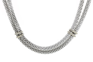 Double Strand Sterling Silver 18 inches Italian Necklace with .16 Ct Diamonds
