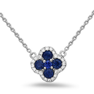White Gold Adjustable Necklace with Diamonds and Sapphires