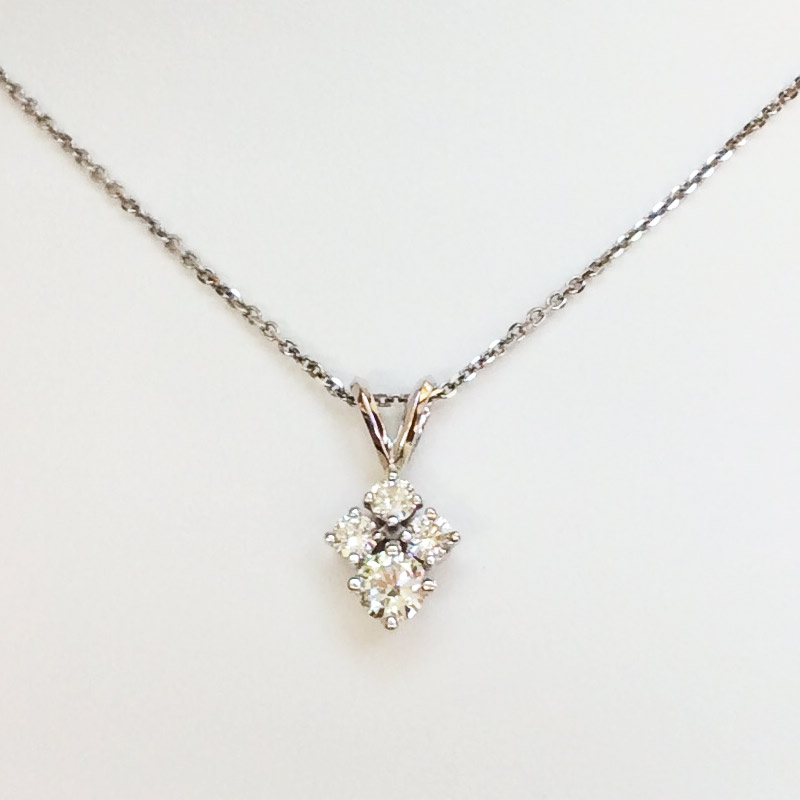 8a7c1ea7b2784 4 Round Diamonds Necklace in 14K White Gold, .92 Ct.tw