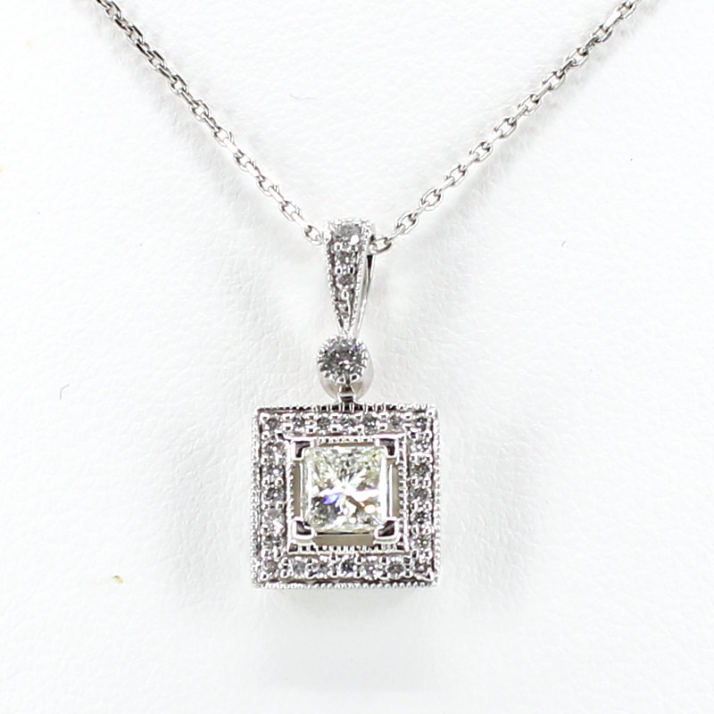 Diamond necklace square pendant in white gold mozeypictures Image collections