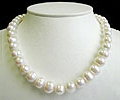 17 Inches Long Pearl Necklace 9.5 - 10.5 mm Round Fresh Water Pearls