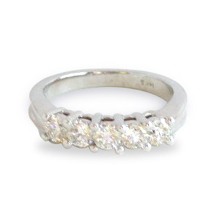 5 Diamonds Band .96 Carat tw. 14K White Gold