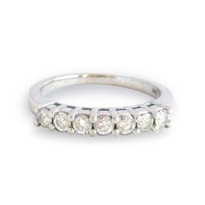 7 Diamonds Band .70 Carat tw. 14K White Gold