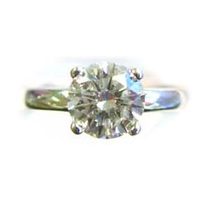 Platinum Engagement Ring 1.62 Carat Round Diamond GIA Certified H VS 2