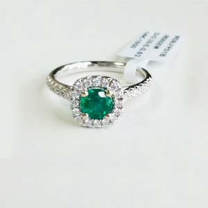 Round .63 Ct Emerald & Diamond Ring in 14K Gold