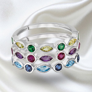 Rainbow Set Rings in14K Gold with Amethyst, Rubies, Topaz, Sapphires, Peridot and Emeralds