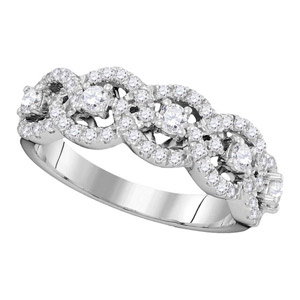 14 K White Gold Ring set with 1 Carat Total Weight of Diamonds