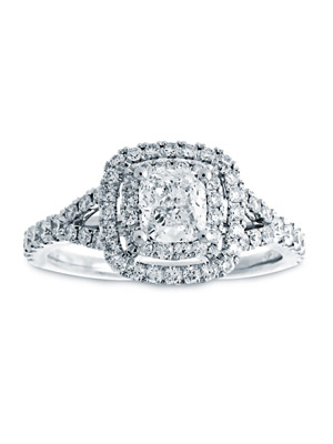 Vintage Style 14K White Gold Ring .50 Carat Cushion Diamond .72 Carat Rounds