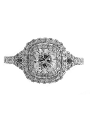 14 k White Gold Set With 1 Carat Cushion Diamond and .81 Rounds