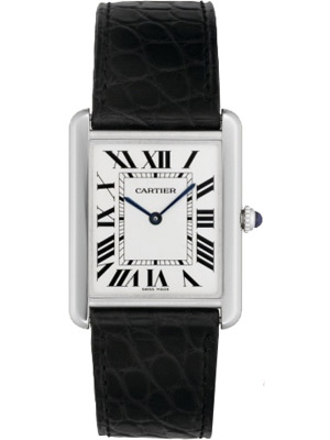 Cartier Tank Solo Watch with Silver Opaline Dial