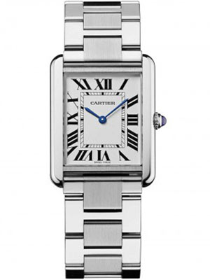 Cartier Quartz Watch Tank Solo Large W5200014 Roman Numerals Blue Hands