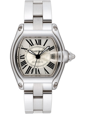 Cartier Men's Roadster Automatic Silver Guilloche Dial